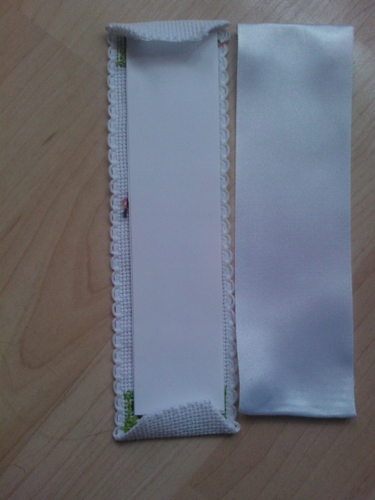 How to back a cross stitch bookmark (5/6)