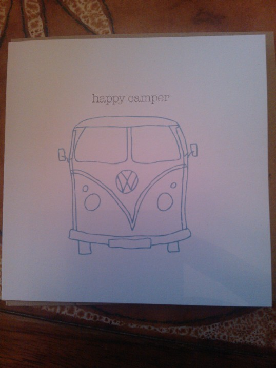 A 'Happy Camper' card