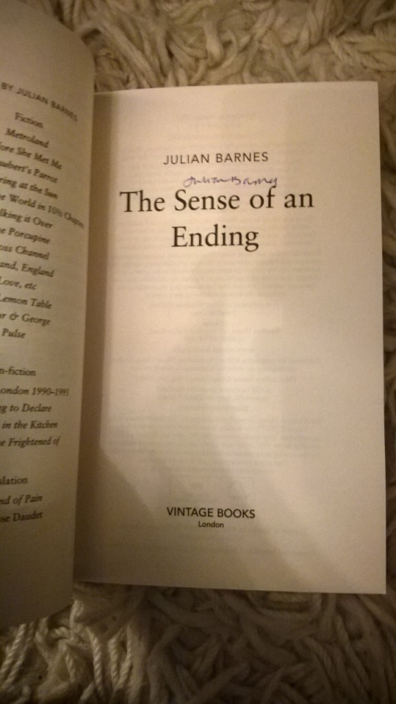 One signed copy of Julian Barnes' The Sense of an Ending