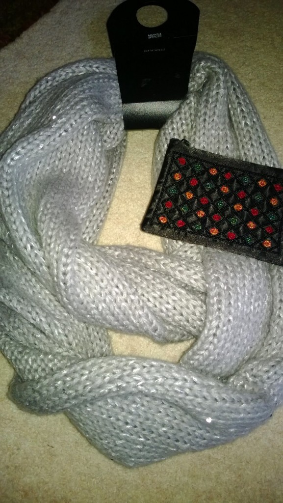 A snugly snood and purse from my Great Aunt and Uncle!