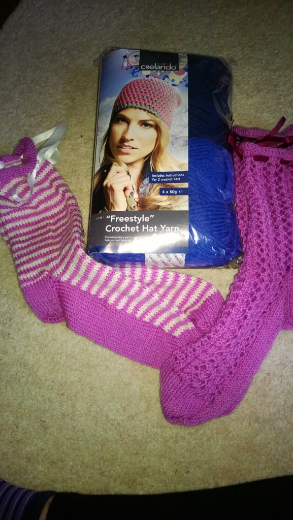 Some hand knitted socks and a crochet kit from my Grandma and Grandpa